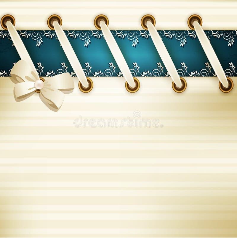 Molde para o fundo do casamento com laço, fita a do cetim ilustração do vetor