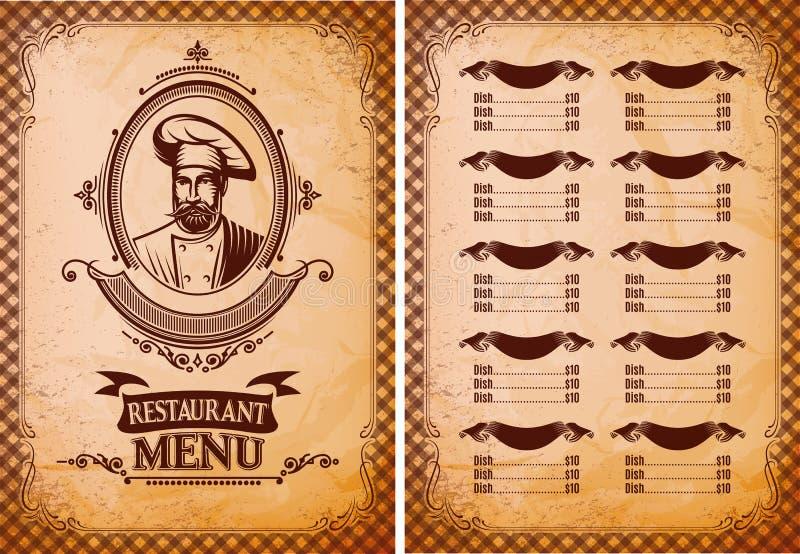 Molde para o menu do restaurante no estilo retro com cozinheiro chefe ilustração do vetor