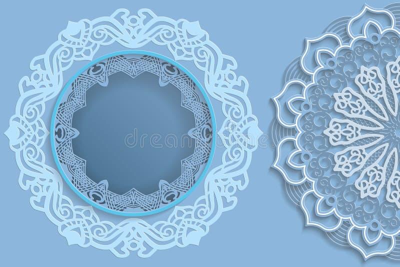 Molde para o projeto - quadro redondo com bordas do laço e mandala 3D no lado Molde para o casamento e as outras felicitações Th ilustração do vetor