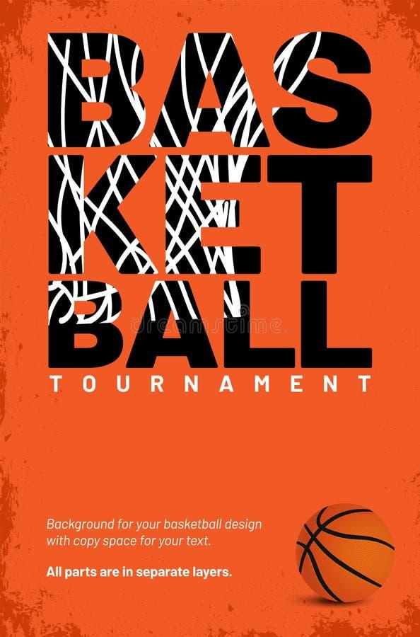Molde para seu cartaz do basquetebol com espaço da cópia ilustração do vetor