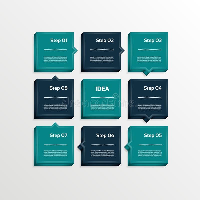 Molde para sua apresentação do negócio Oito etapas diagram, as setas do processo, opções numeradas 3D ilustração do vetor