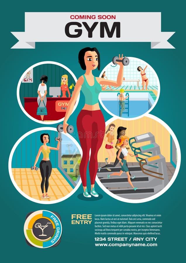 Molde para um cartaz no gym Recepção e ginásio ilustração royalty free