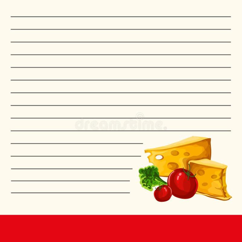 Molde para um livro de receitas Página fresca para o livro de receitas Projeto bonito da página interna de um livro de receitas ilustração royalty free