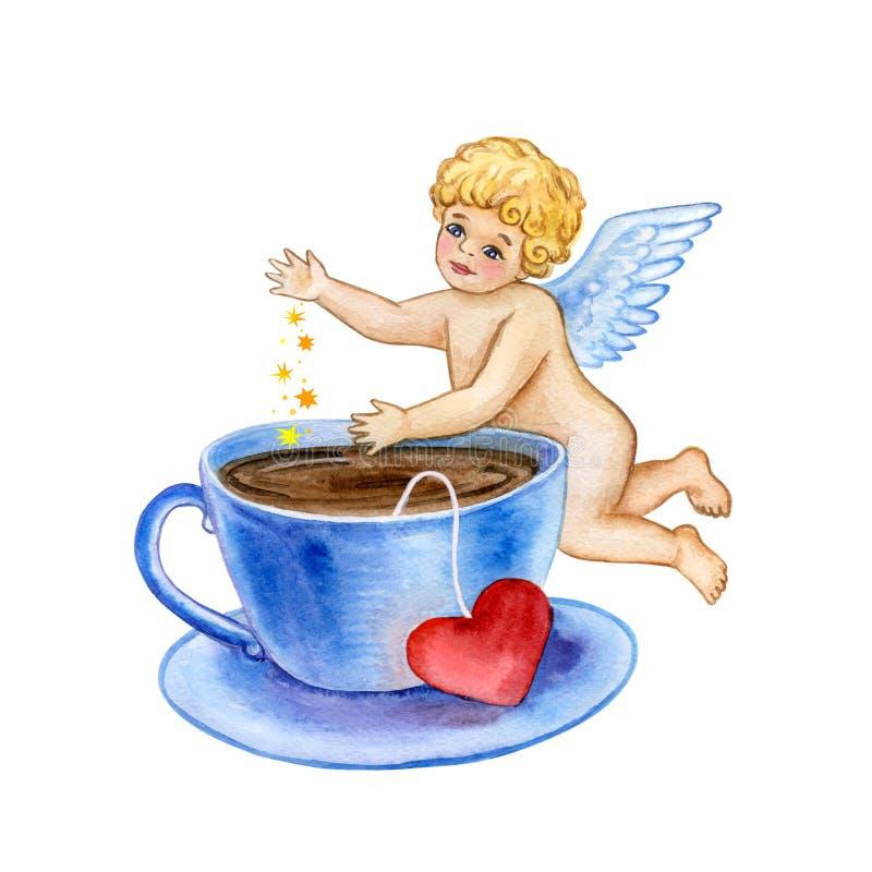 Molde para a Web, cópia do cartão dos Valentim de Saint da aquarela O cupido pequeno bonito deixa cair a poeira mágica do amor no ilustração royalty free