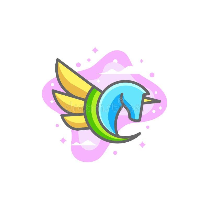 Molde pastel do vetor da ilustração dos projetos da cor abstrata de Pegasus ilustração stock