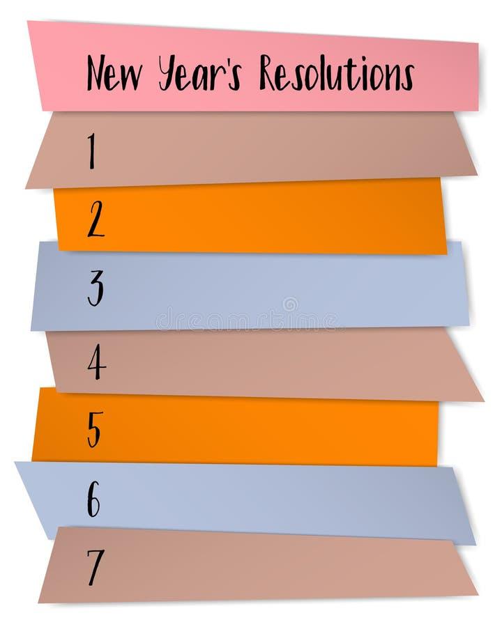 Molde pegajoso do vetor das notas das definições do ano novo ilustração stock