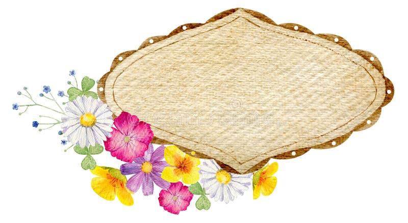 Molde pintado à mão do clipart do modelo da aquarela de flores selvagens ilustração stock