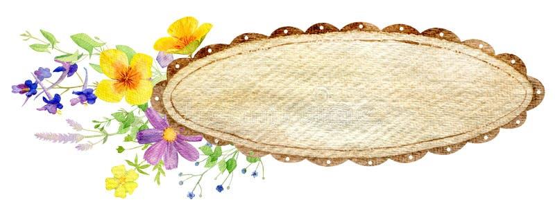 Molde pintado à mão do clipart do modelo da aquarela de flores selvagens ilustração royalty free
