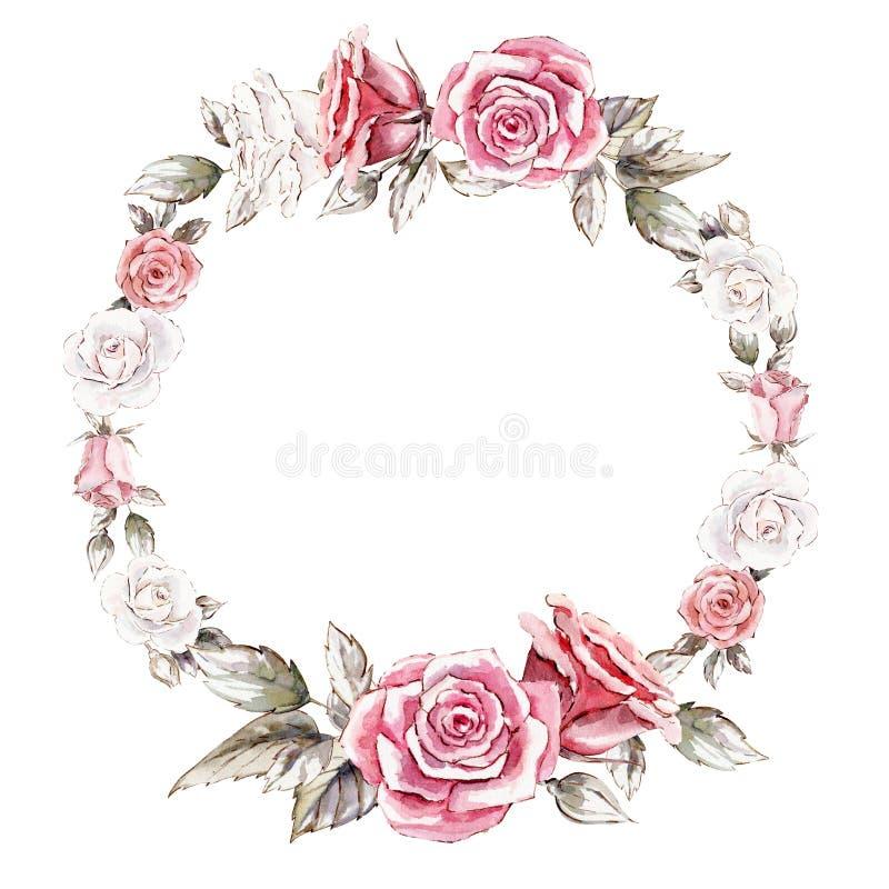 Molde pintado à mão do clipart do modelo da grinalda da aquarela das rosas ilustração stock