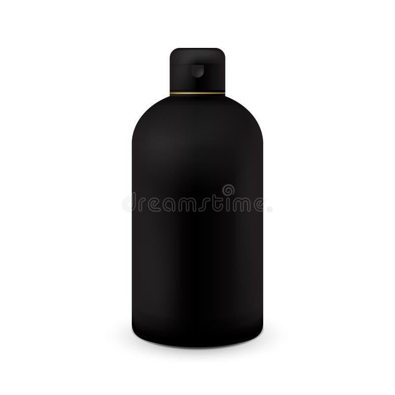 Molde plástico branco da garrafa para o champô, gel do chuveiro, loção, leite do corpo, espuma do banho Apronte para seu projeto  ilustração stock