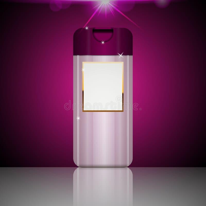 Molde plástico cor-de-rosa cosmético da garrafa do gel do champô ou do chuveiro para ilustração do vetor