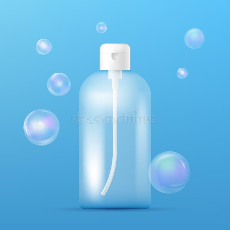 Molde plástico limpo da garrafa com o distribuidor para o champô, o sabão líquido, o gel do chuveiro, a loção, o leite do corpo e ilustração do vetor