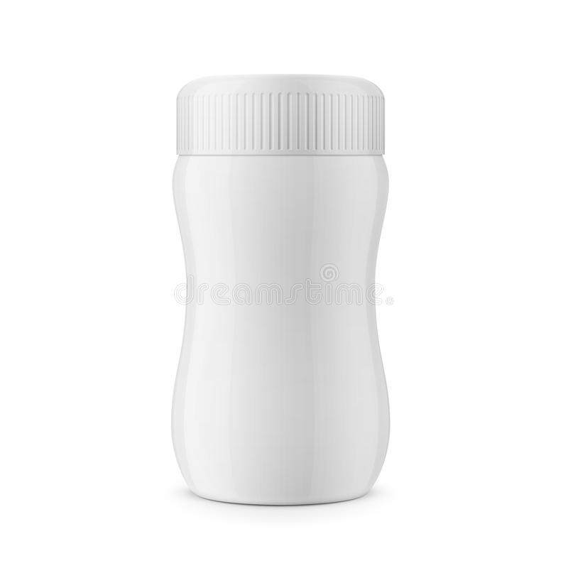 Molde plástico lustroso branco redondo do frasco ilustração stock