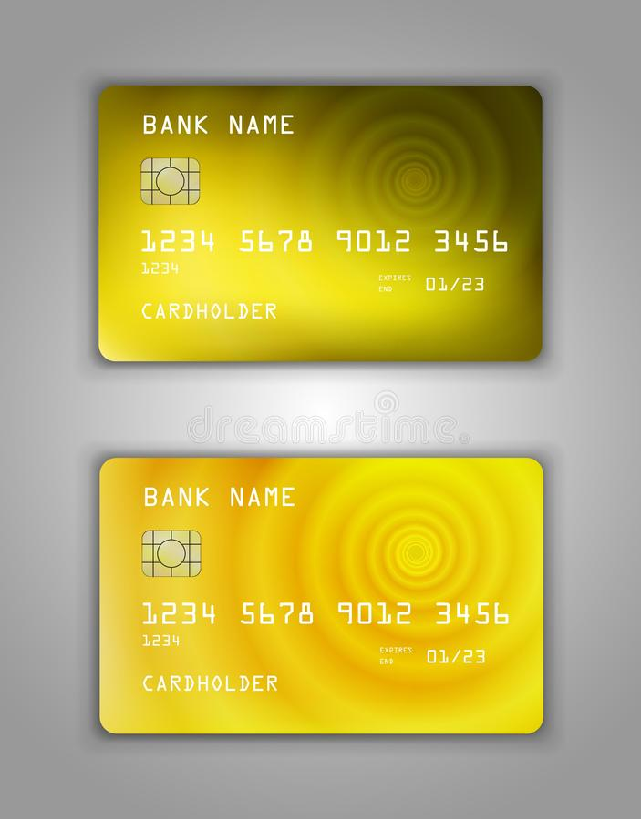Molde pl?stico real?stico do vetor do cart?o de banco Figura inclina??o da espiral Amarelo da cor do fundo imagem de stock