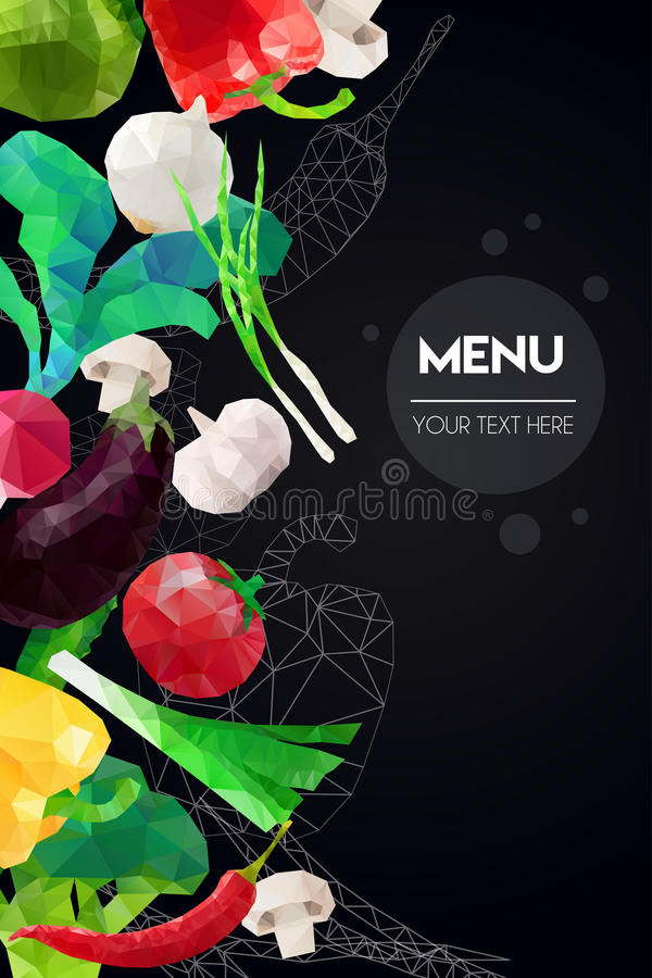 Molde poligonal abstrato do menu Projeto geométrico do triângulo Ilustração colorida dos vegetais do vetor ilustração stock