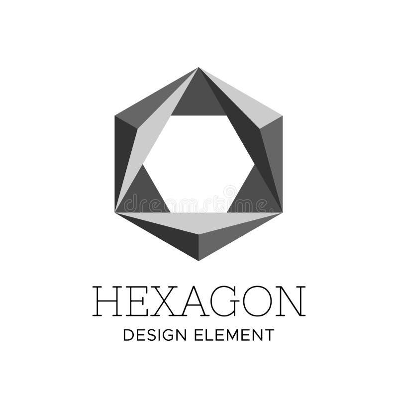 Molde poligonal cinzento liso do vetor do logotipo do hexágono ilustração stock