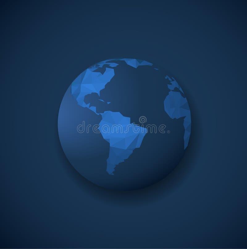 Molde poligonal do globo na obscuridade - fundo azul ilustração stock