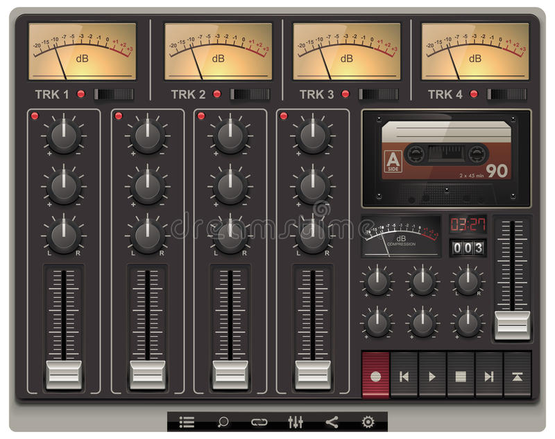Molde portátil do estúdio de gravação do vetor com ico ilustração royalty free