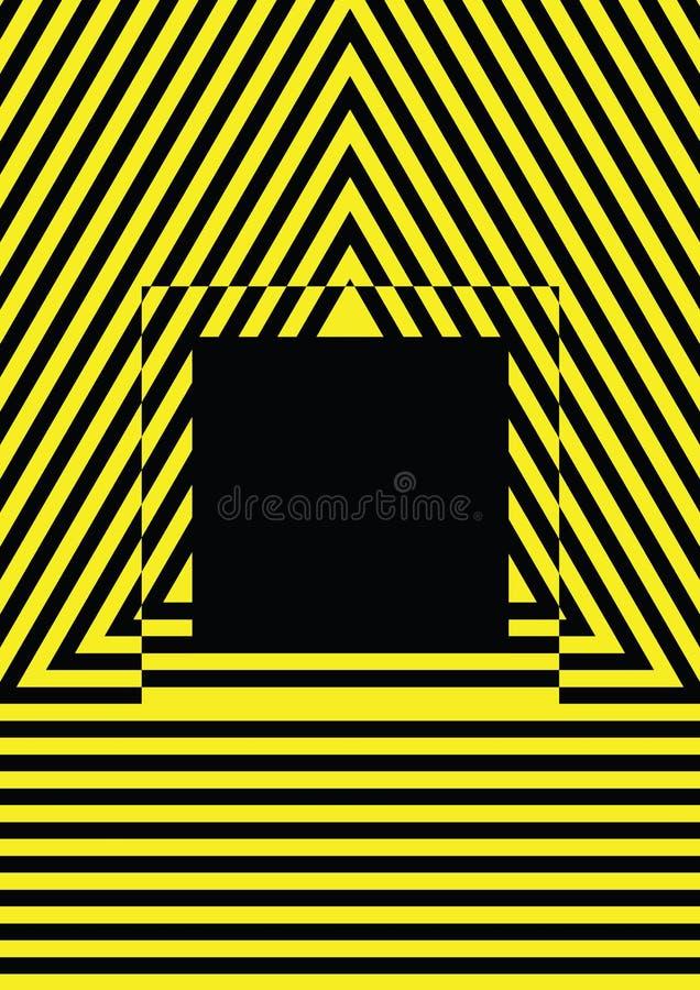 Molde potencial do perigo das listras amarelas e pretas ilustração stock