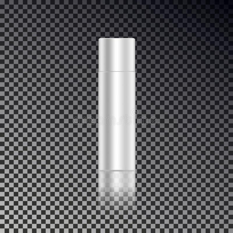 Molde próximo dos anúncios do pulverizador de cabelo do cosmético, garrafas cosméticas vazias do modelo com reflexão transparente ilustração royalty free