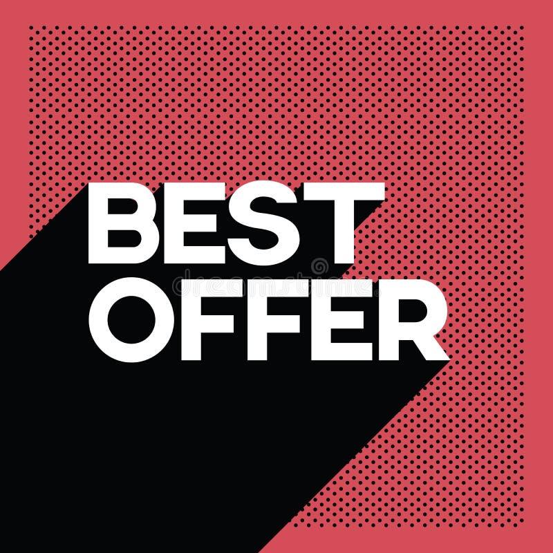 Molde preto da bandeira do cartaz da venda da oferta de sexta-feira melhor com texto retro da tipografia da sombra longa e fundo  ilustração royalty free