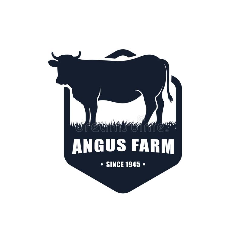 molde preto do projeto do logotipo de angus projeto do logotipo da exploração agrícola da vaca ilustração royalty free