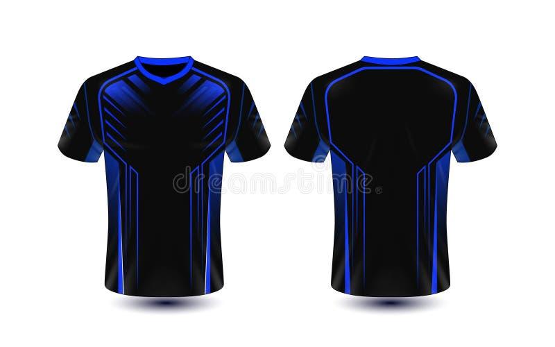 Molde preto e azul do projeto do t-shirt do e-esporte da disposição ilustração royalty free