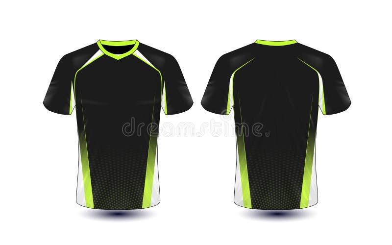 Molde preto e verde do projeto do t-shirt do e-esporte da disposição ilustração do vetor