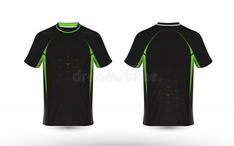 Molde preto e verde do projeto do t-shirt do e-esporte da disposi??o ilustração stock