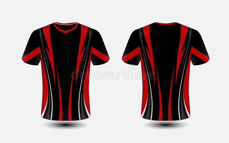 Molde preto e vermelho do projeto do t-shirt do e-esporte da disposição ilustração royalty free