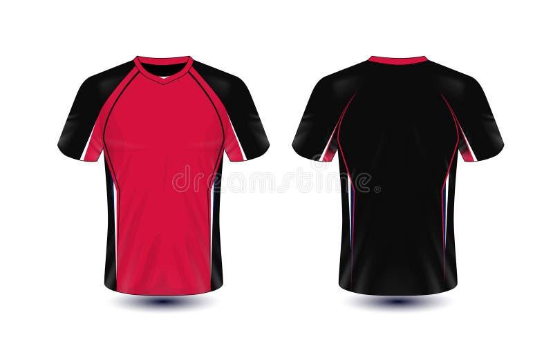 Molde preto e vermelho do projeto do t-shirt do e-esporte da disposição ilustração do vetor
