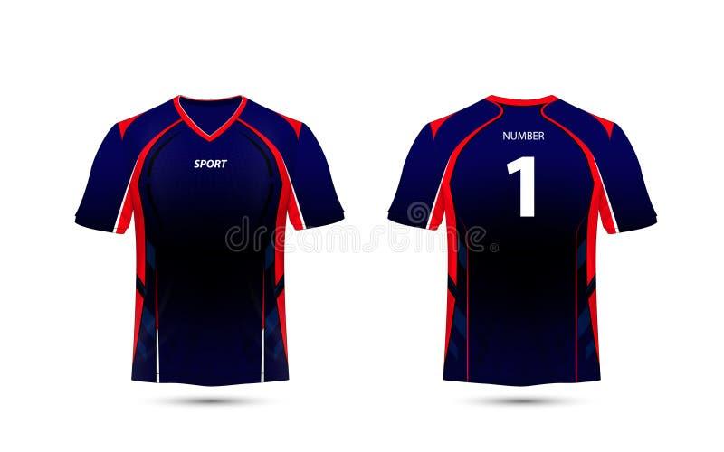 Molde preto, vermelho e azul do projeto do t-shirt do esporte da disposição e ilustração do vetor