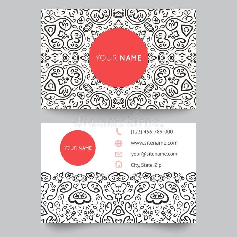 Molde, preto, vermelho e branco do cartão ilustração do vetor