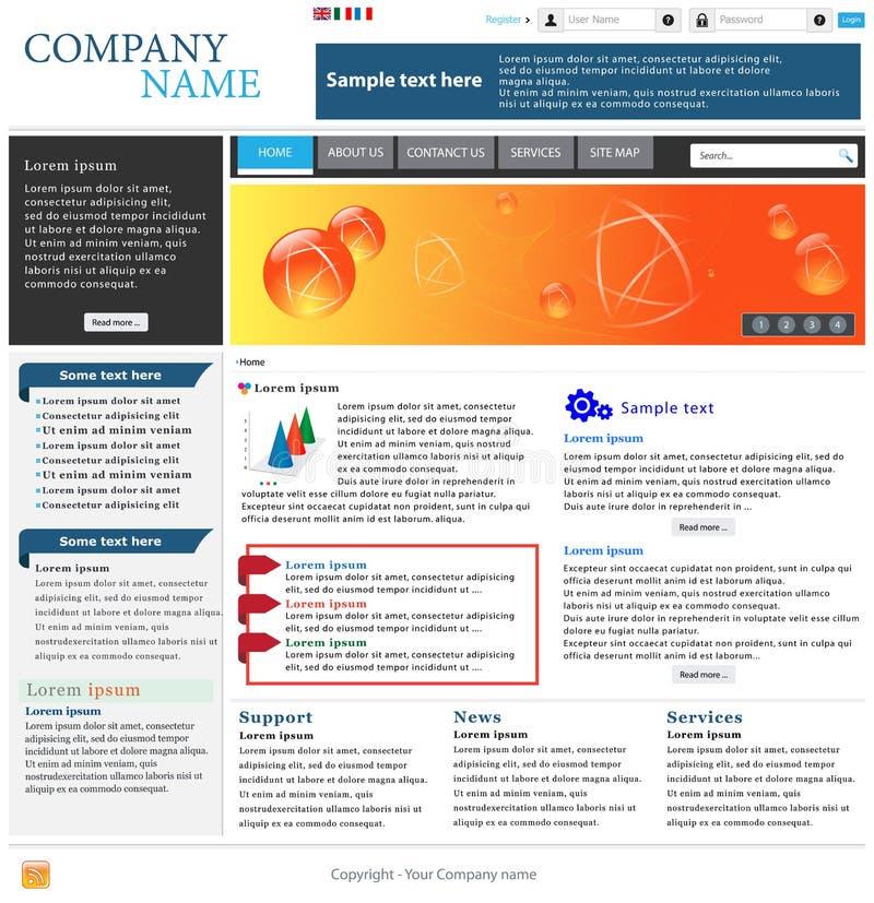 Molde profissional do Web site ilustração do vetor