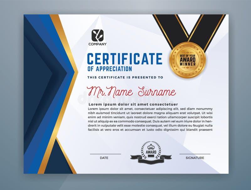 Molde profissional moderno do certificado ilustração stock