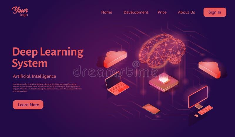 Molde profundo do página da web da aterrissagem do sistema de aprendizagem Ilustração isométrica do vetor da inteligência artific ilustração do vetor