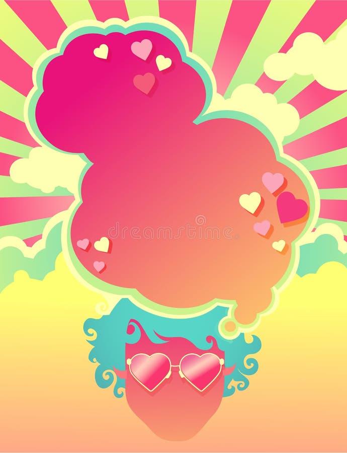 Molde psicadélico temático do cartaz do estilo dos anos 60 do coração ilustração stock
