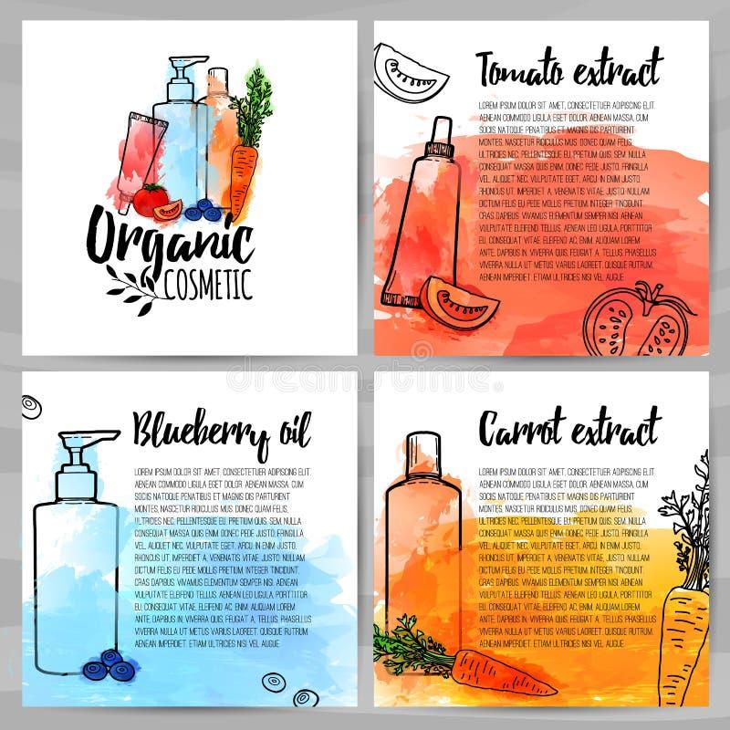 Molde quadrado do projeto dos folhetos sobre o cosmético orgânico Brochura com logotipo orgânico Informação sobre natural ilustração royalty free