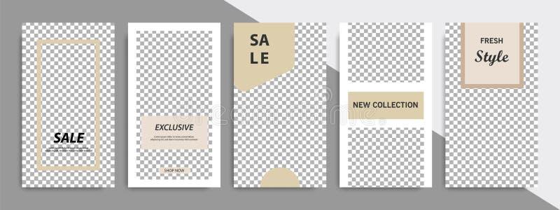 Molde quadrado mínimo moderno da forma na cor marrom do cetim macio com quadro Molde de anúncio incorporado para histórias sociai ilustração stock