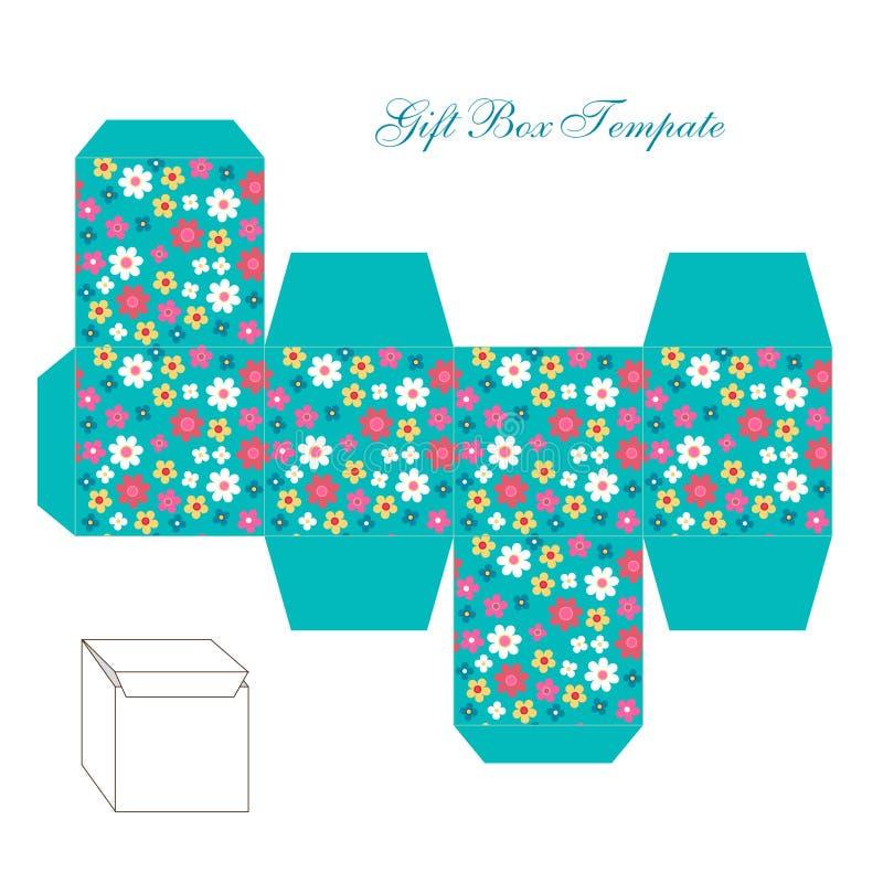 Molde quadrado retro bonito da caixa de presente com o ornamento chique gasto a imprimir, cortar e dobrar-se ilustração stock