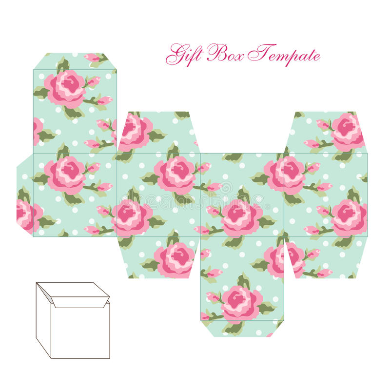 molde quadrado retro bonito da caixa de presente com o ornamento chique gasto a imprimir cortar. Black Bedroom Furniture Sets. Home Design Ideas