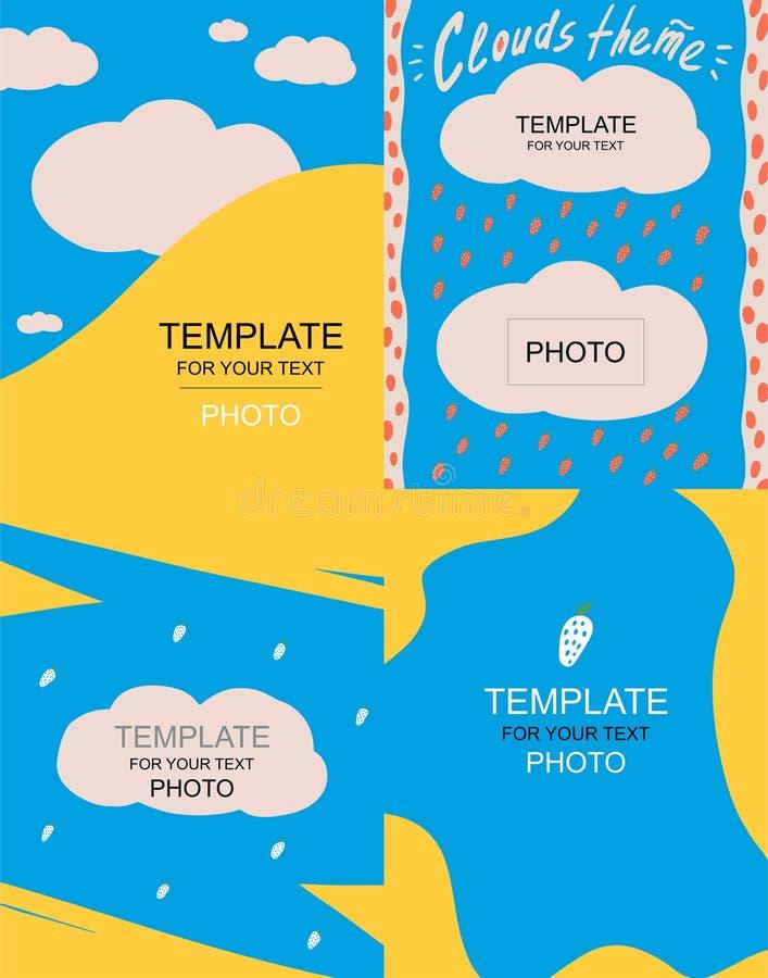 Molde quatro azul para o texto com nuvens ilustração do vetor