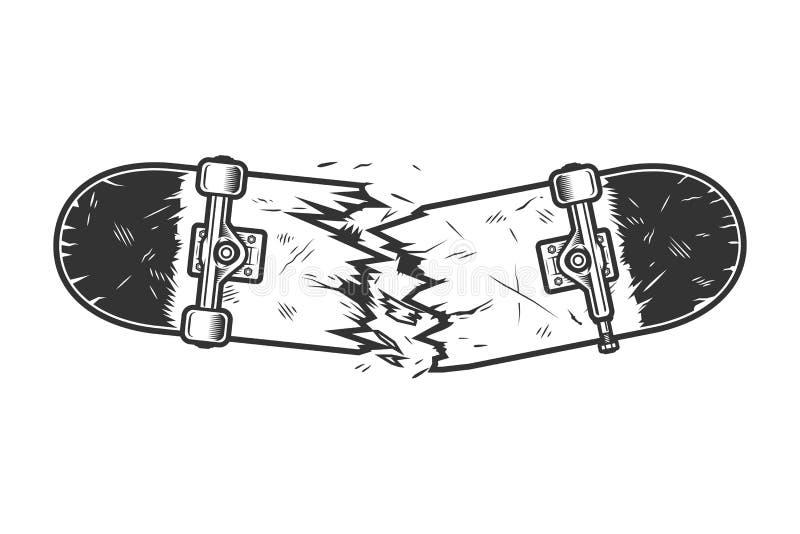 Molde quebrado monocromático do skate do vintage ilustração royalty free