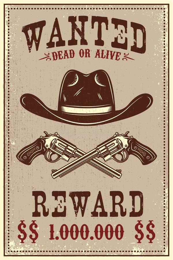 Molde querido do cartaz Chapéu de vaqueiro e revólveres no fundo do grunge Projete o elemento para o cartaz, cartão, bandeira, in ilustração do vetor