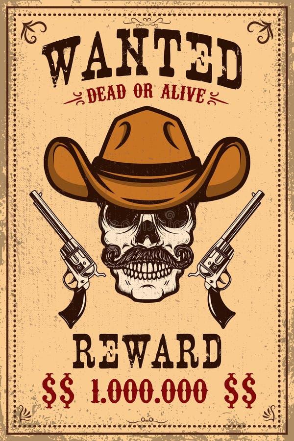 Molde querido do cartaz Crânio do vaqueiro com revólveres cruzados Elemento do projeto para o cartaz, cartão, etiqueta, sinal, ca ilustração stock