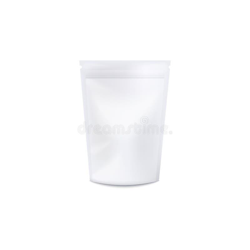 Molde realístico branco da placa de um saco de plástico, de um malote e de um pacote com folha do fechamento do fecho de correr d ilustração stock