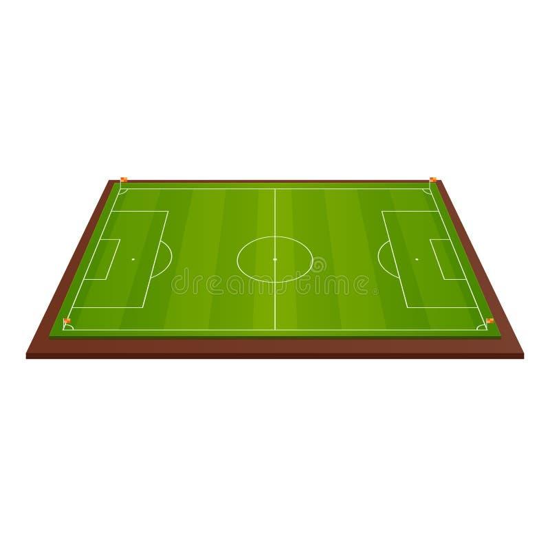 Molde realístico do campo de futebol, campo de jogos com grama verde e paisagens ilustração stock