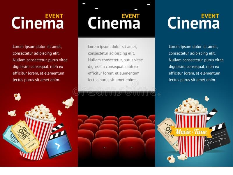 Molde realístico do cartaz cinematográfico do cinema Vetor ilustração royalty free
