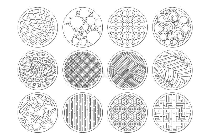 Molde redondo ajustado para cortar Linha abstrata, teste padrão geométrico Corte do laser Ajuste o 1:2 da relação Ilustração do v ilustração stock