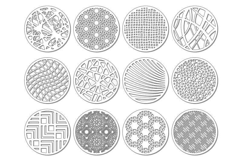 Molde redondo ajustado para cortar Linha abstrata, teste padrão geométrico Corte do laser Ajuste o 1:2 da relação Ilustração do v ilustração royalty free